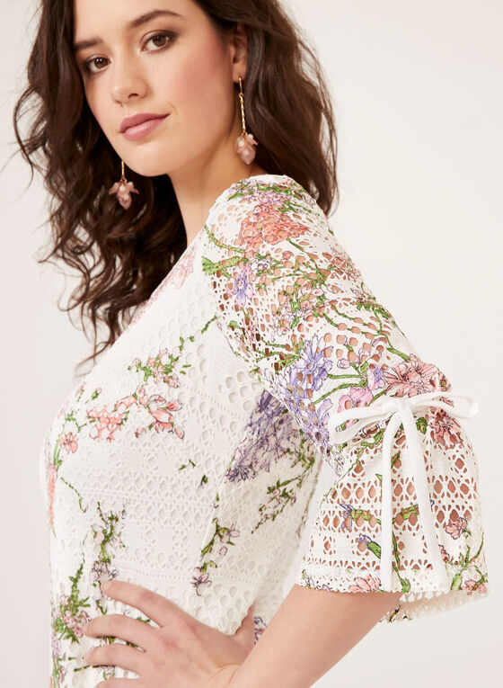 Floral Print Crochet Bell Sleeve Dress, White, hi-res
