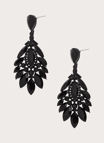 Facetted Crystal Chandelier Earrings, Black, hi-res