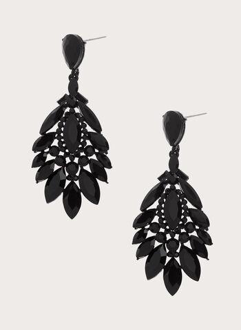 Boucles d'oreilles chandelier en cristaux , Noir, hi-res
