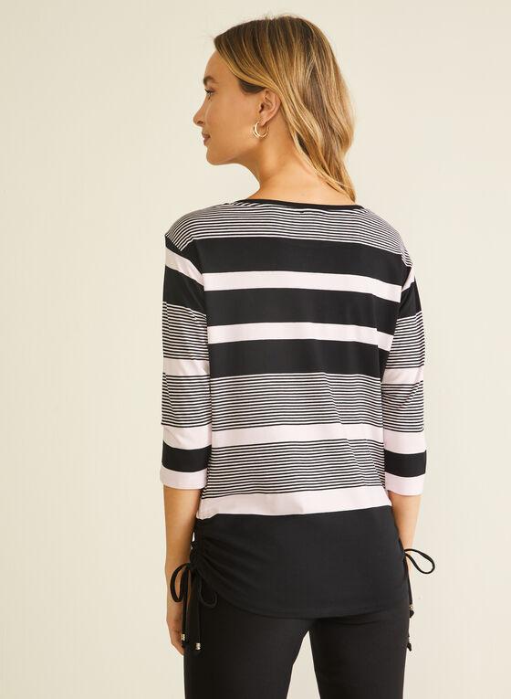 Stripe Print 3/4 Sleeve Tee, Black