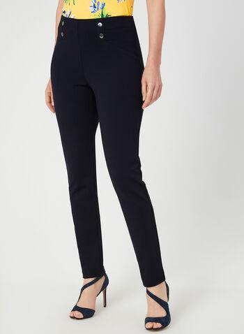 City Fit Slim Leg Pants, Blue,  pull on, elasticized, city sit, slim leg, faux buttons, fall 2019, winter 2019