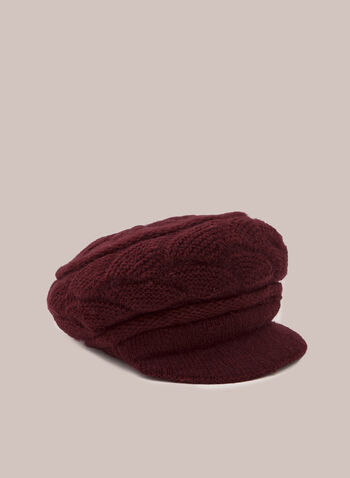 Casquette en tricot , Rouge,  hat, beret, peak, knit, fall winter 2020