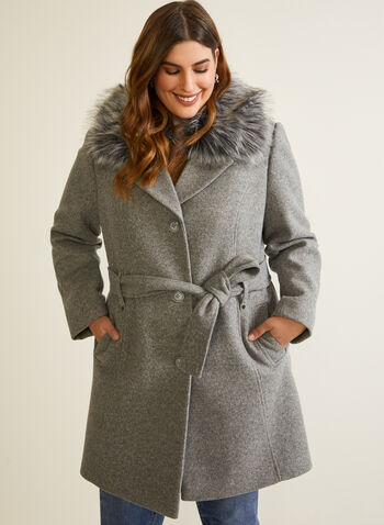 Stretch Wool Blend Coat, Grey,  fall winter 2020, coat, stretchy, trench, faux fur, removable, detachable, belted, notch collar, long fur, warm, stretch
