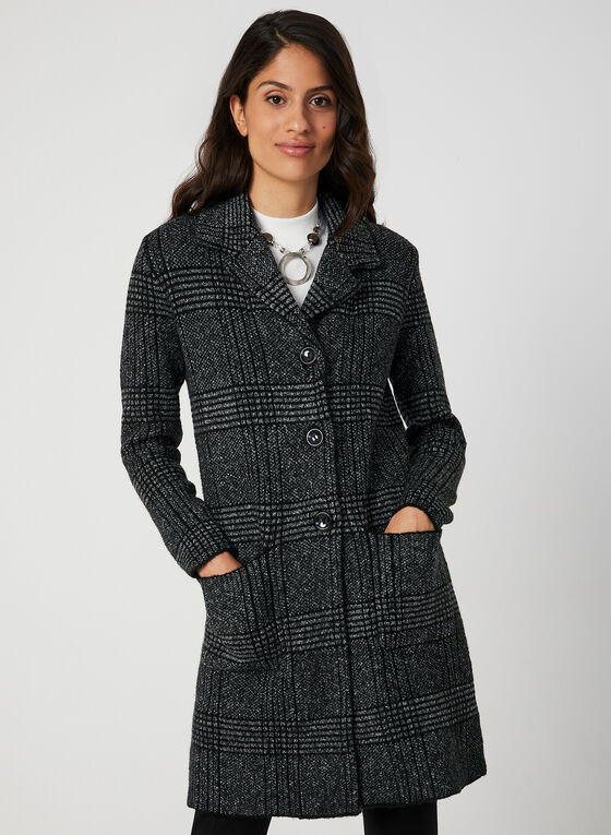 Plaid Print Sweater Coat, Black, hi-res