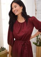 Satin Jacquard Detail Dress, Red