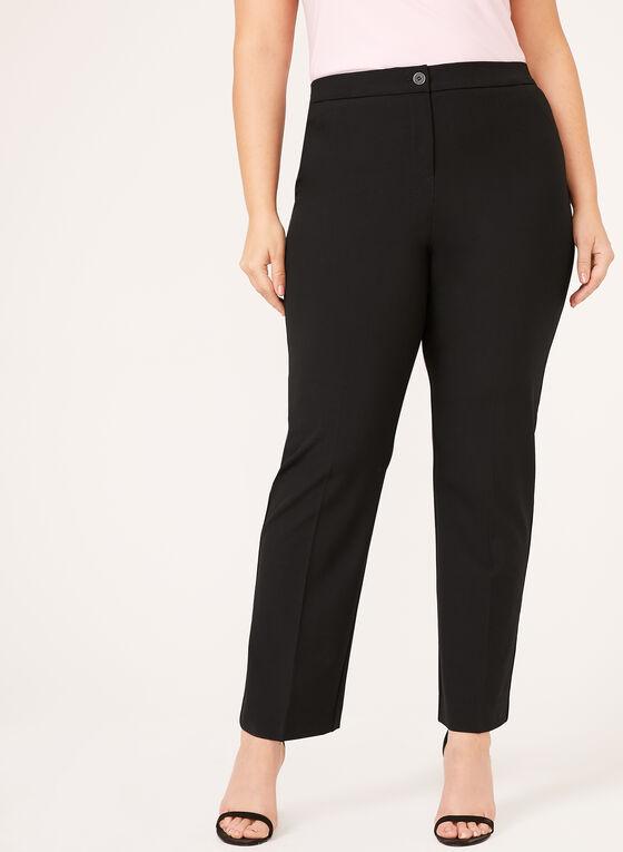 Pantalon coupe signature à jambe droite, Noir, hi-res