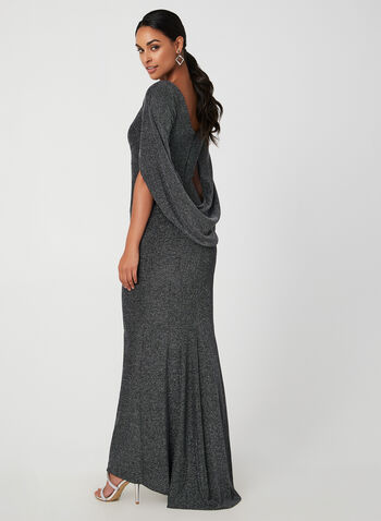 Draped Metallic Gown, Black,  metallic, drape, brilliant, v back, cowl neck, gown, dress, fall 2019