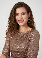 ¾ Sleeve Sequin Dress, Brown