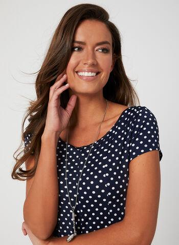 Polka-Dot Print Dress, Blue, hi-res,  spring summer 2019, polka-dot, jersey, short sleeves