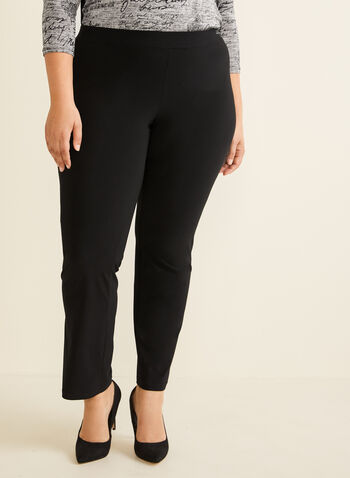 Pantalon coupe moderne à jambe droite, Noir,  pull-on, jersey, printemps 2019