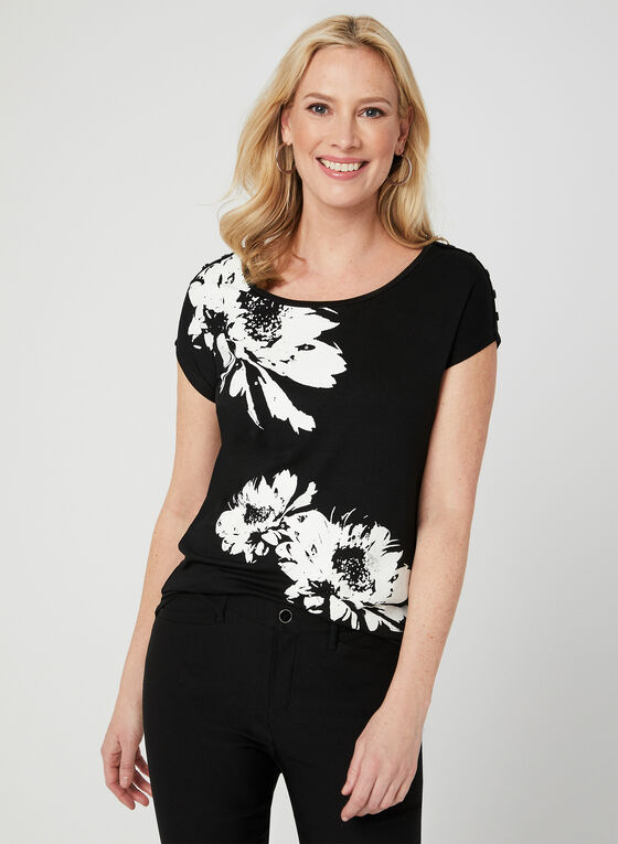 T-shirt à fleurs et cristaux, Noir, hi-res