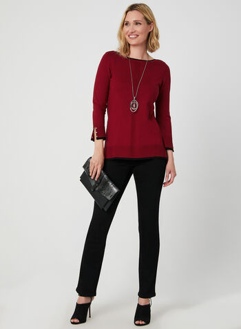 Contrast Trim Sweater, Red,  ¾ sleeves, 3/4 sleeves, studs, metallic, knit, boat neck, fall 2019, winter 2019