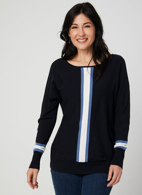 Stripe Print Sweater, Blue