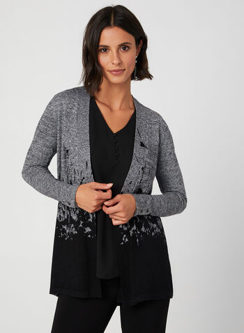 Leaf Print Cardigan, Black, hi-res,  fall winter 2019, stretchy knit, long sleeves, cardigan