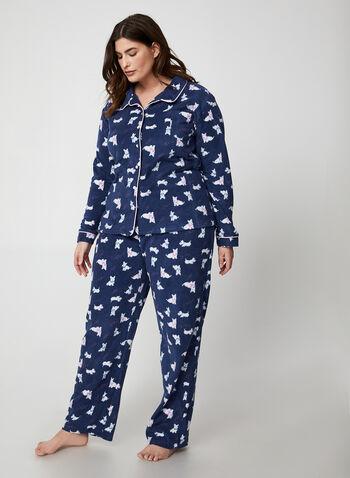 Karmilla Lingerie - Pyjama à motif chiens, Bleu,  polar, polaire, manches longues, pyjama 2 pièces, ensemble pyjama, jambe large, automne hiver 2019