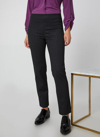 City Fit Stripe Print Pants, Black, hi-res,  canada, slim leg pants, pants, city fit, ponte de roma, stripes, fall 2019, winter 2019