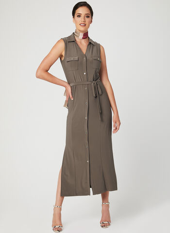 Nina Leonard - Sleeveless Button Down Dress, Brown, hi-res