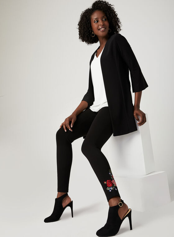 ¾ Sleeve Open Front Cardigan , Black, hi-res