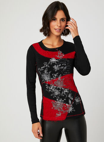 Mixed Media Long Sleeve T-Shirt, Red, hi-res