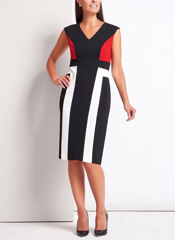 Colour Block Piqué Knit Dress, Black, hi-res