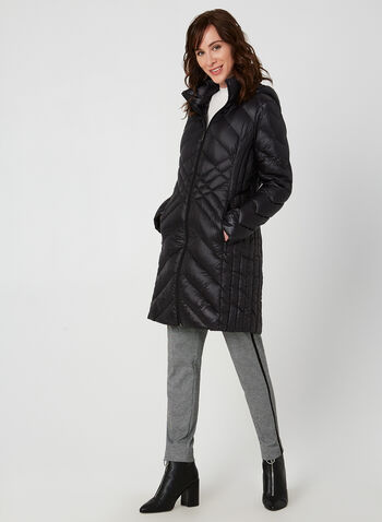 BCBGeneration - Manteau compressible à capuchon, Noir, hi-res,  automne hiver 2019, BCBGeneration, manteau, duvet, compressible, manches longues