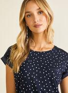 T-shirt à pois et détails satinés, Bleu