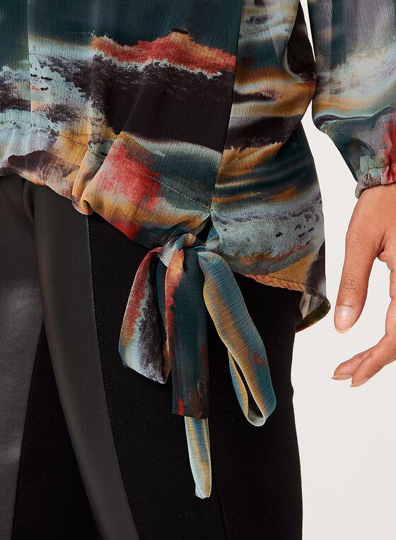 Blouse en mousseline motif abstrait et lien à nouer, Vert, hi-res
