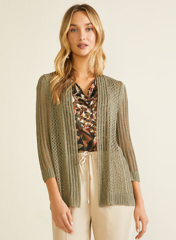 Pointelle Knit Cardigan, Green,  spring summer 2020, 3/4 sleeves, pointelle knit, open front, cardigan