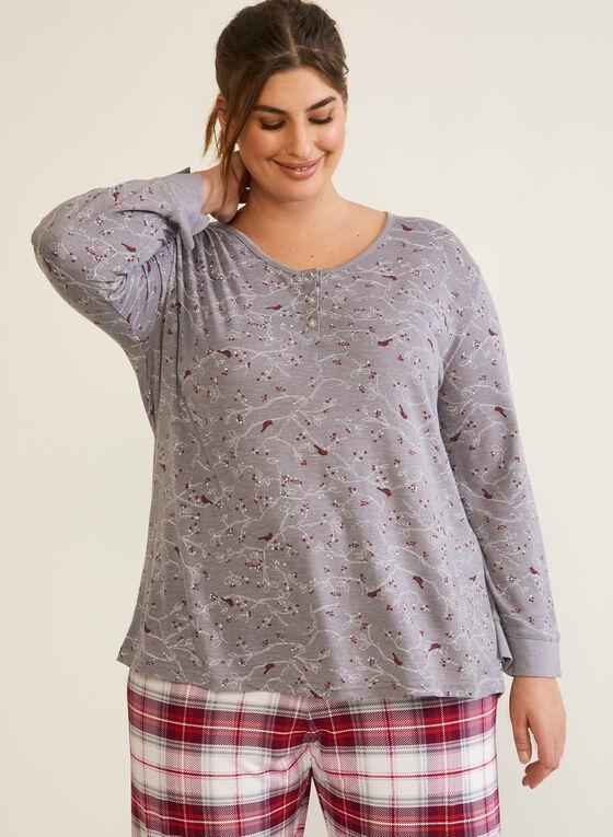 Tartan Print Pyjama Set, Grey