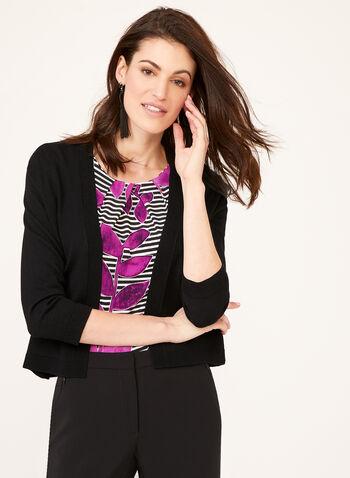 Boléro ouvert en tricot et bordures texturées, Noir, hi-res
