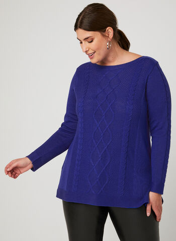 Boat Neck Knit Sweater, Blue, hi-res