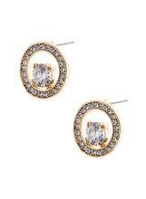 Boucles d'oreilles anneau de brillants et cristal, Or, hi-res