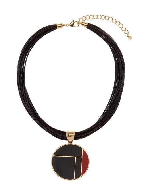 Collier multi-corde aspect cuir et pendentif géométrique, Rouge, hi-res
