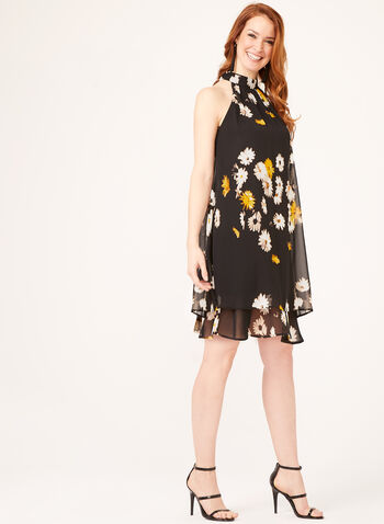 Eliza J - Floral Print Halter Shift Dress, Black, hi-res