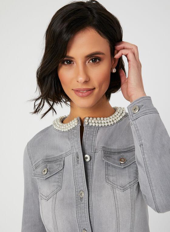 Veste en jean à détails perles, Gris, hi-res