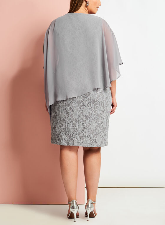 Glitter Lace Poncho Dress, Silver, hi-res