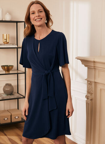 Knot Detail Day Dress, Blue,  dress, say, keyhole, crepe, knit, elbow sleeves, round neck, knot, tie, spring summer 2021