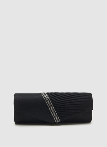 Crystal Embellished Envelope Clutch, Black, hi-res