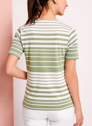 Stripe Print Ring Trim Cotton T-Shirt, , hi-res