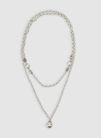 Collier sautoir à perles, Blanc cassé, hi-res,  collier, long, perles, automne hiver 2019