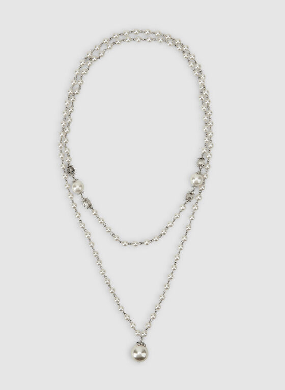 Long Pearl Necklace, Off White