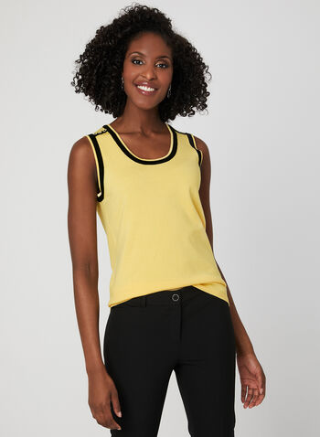 Sleeveless Knit Top, Yellow, hi-res