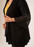 Cardigan ouvert en maille avec mousseline aux manches, Noir, hi-res