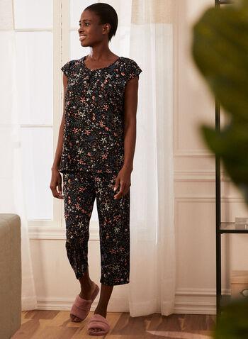 Floral Print Pyjama Set, Black,  pyjamas, set, 2 piece, capris, top, cap sleeves, round neck, floral print pull-on, spring summer 2021
