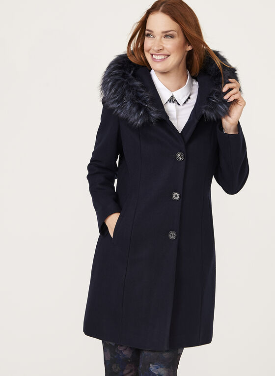 Hooded Wool Like Coat, Blue, hi-res