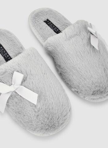 Bow Detail Slippers, Grey,  sleepwear, slippers, fall 2019, winter 2019
