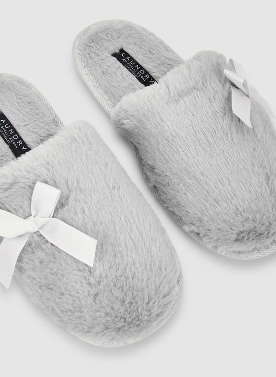 Bow Detail Slippers, Grey