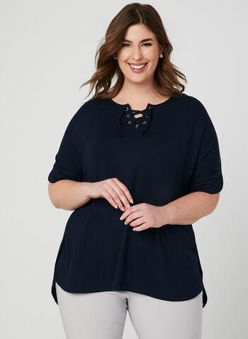 T-shirt à col lacé et manches courtes, Bleu, hi-res