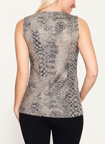 Vex - Haut sans manches en tricot chiné et imprimé, Brun, hi-res
