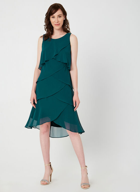 Layered Chiffon Dress, Green